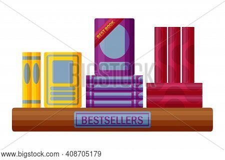 Bestseller Books With Badge. Bookstore Shelf In Cartoon Style. Vector Illustration Isolated On White
