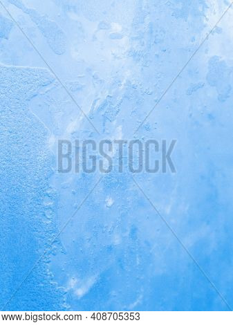 Close Up Shot To Ice Pattern. Macro View With Soft Focus. Gradient Background.