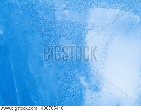 Macro View To Ice Pattern. Close Up Shot. Soft Focus. Blue Gradient Background.