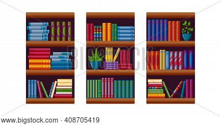 Bookcases For Home Library. Bestseller Bookshop In Cartoon Style. Vector Illustration Isolated On Wh