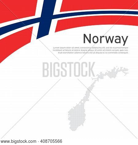 Norway Flag, Mosaic Map On A White Wavy Background. National Poster Design Of Norway. Business Bookl