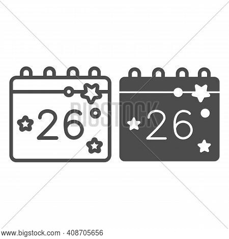 Calendar With Thanksgiving Day Line And Solid Icon, Thanksgiving Day Concept, Twenty Eighth Of Novem