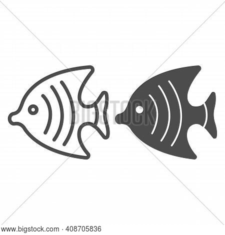 Fish For Aquarium Line And Solid Icon, Domestic Animals Concept, Goldfish Sign On White Background,