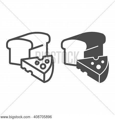 Wheat Bread And Cheese Line And Solid Icon, Thanksgiving Day Concept, Healthy Farm Products Sign On
