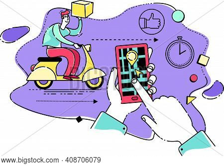 Illustration For An App, Infographic, Or Landing Page, With A Character: A Person Quickly Delivers A