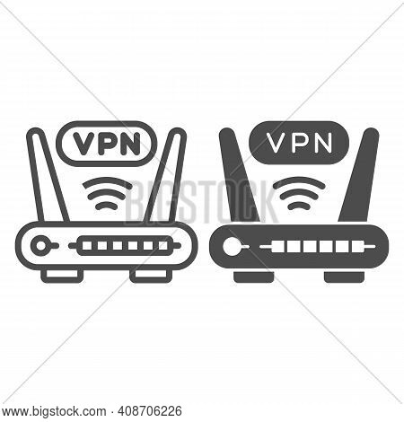 Router With Vpn Connection Line And Solid Icon, Web Security Concept, Virtual Private Network Sign O