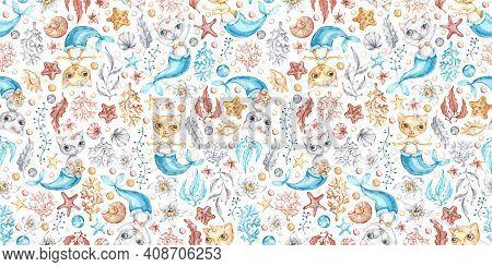 Watercolor Vector Cat Mermaid Seamless Pattern In Cartoon Style. Creative Nursery Background Print.