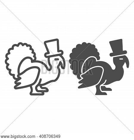 Turkey With A Hat Line And Solid Icon, Thanksgiving Day Concept, Thanksgiving Bird Sign On White Bac