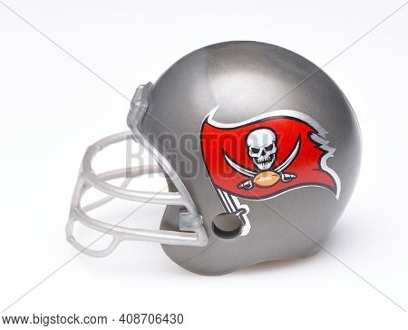 IRVINE, CALIFORNIA - AUGUST 30, 2018: Mini Collectable Football Helmet for the Tampa Bay Buccaneers of the National Football Conference South.