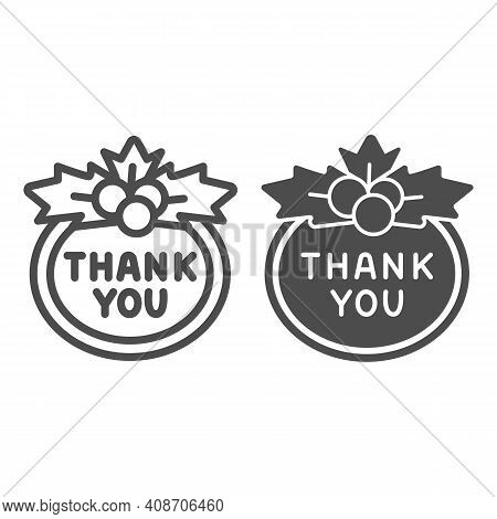 Berries And Thank You Sign Line And Solid Icon, Thanksgiving Day Concept, Berries And Sign Of Gratit