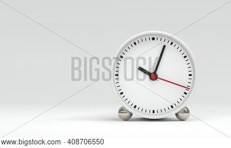 Clock Face With Hour Minute And Second Hands About 10 O Clock On White Background. Object And Equipm
