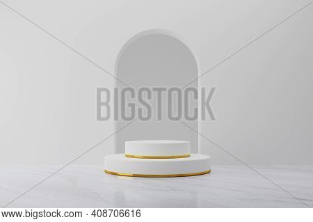 White Product Podium Stage Mockup With Gold Ring Background. Abstract Minimal Geometry Concept. Exhi
