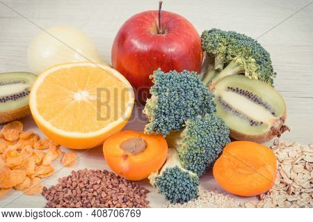 Nutritious Ingredients Or Products Containing Vitamin Pp And Other Natural Minerals, Concept Of Heal