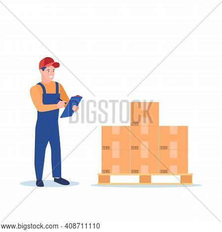 Warehouse Worker Checking Goods On Pallet Stock. Warehouse Inventory And Delivery Workers. Man Opera