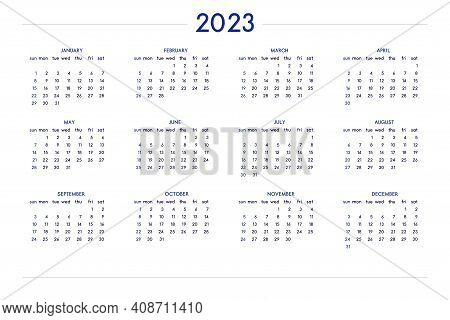 2023 Calendar Set In Classic Strict Style. Wall Table Calendar Schedule, Minimal Restrained Business