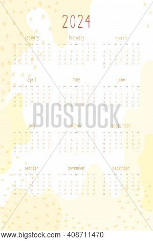 2024 Calendar Set For Personal Planner And Notebook. Warm Yellow Hand Drawn Abstract Spots And Dots,