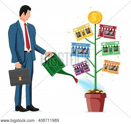 Successful Franchise Business With Money Tree. Franchising Shop Building Or Commercial Property And