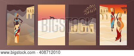 Vector Set Of Abstract Posters With African Woman In Turban In Minimalistic Style.  African Women Wa