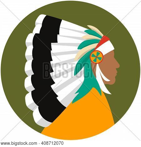 Indian Chief Head Profile Isolated Vector Icon