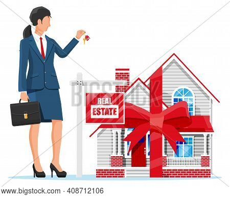 Suburban House, Businesswoman Or Realtor Holding Key. Wooden Placard With Real Estate Sign. Mortgage