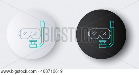 Line Diving Mask And Snorkel Icon Isolated On Grey Background. Extreme Sport. Diving Underwater Equi