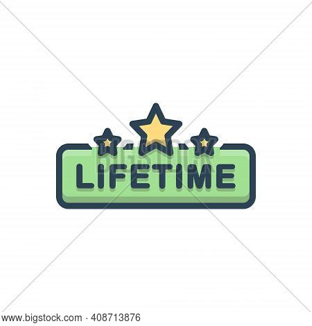 Color Illustration Icon For Lifetime Tag Badge Label