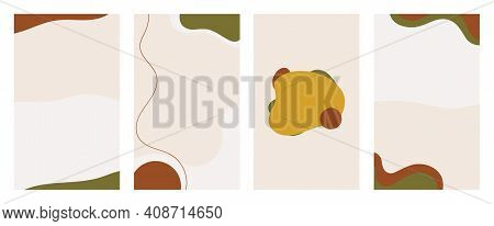 Set Of Vertical Abstract Backgrounds For Social Media. Fluid, Trendy Shapes In A Muted Color Palette