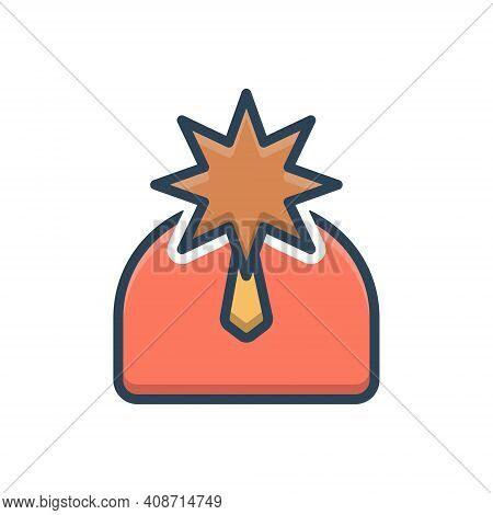 Color Illustration Icon For Celebrity Magnate Sachem Fame Repute