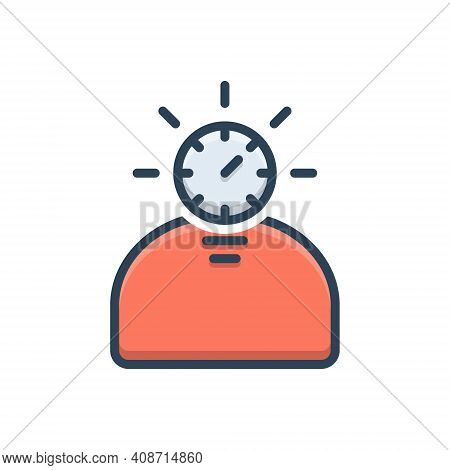 Color Illustration Icon For Fast-learner Astute Keen Perceptive Sharp