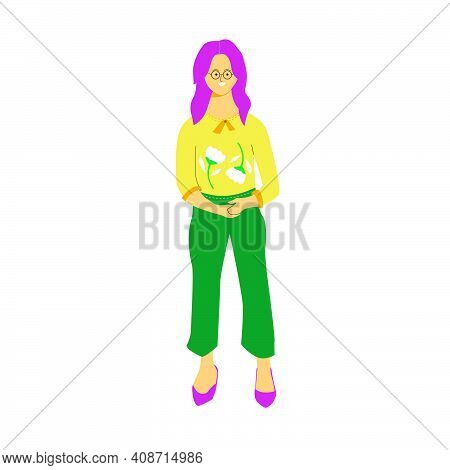Young Woman Wearing Artsy Style Outfit Flowers Pattern Shirt. Flat Vector Design Character Illustrat