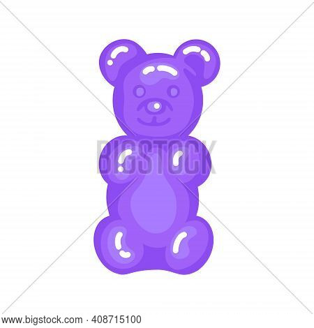Purple Gummy Bear Jelly Sweet Candy With Amazing Flavor Flat Style Design Vector Illustration. Brigh