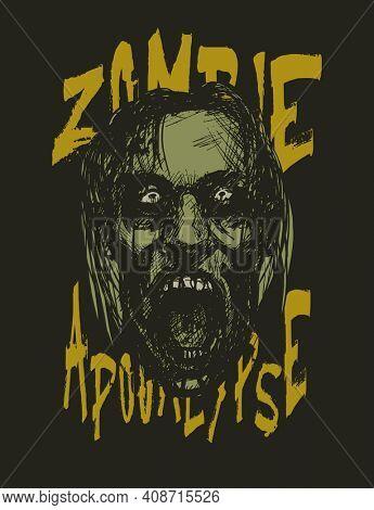 Zombie apocalypse. Zombie head. Hand drawn. Jpeg version.