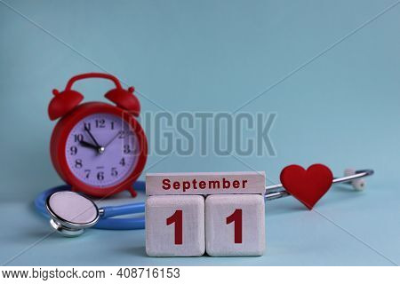 September 11. Day 11th Of Month, Calendar Date White Wooden Calendar Blocks With Date, Clock And Ste