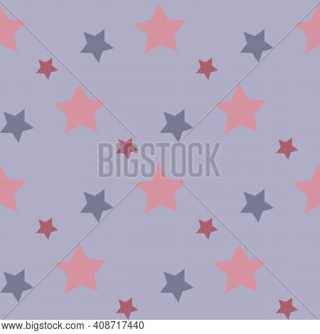 Seamless Pattern In Discreet Pink And Violet Stars On Light Violet Background For Fabric, Textile, C