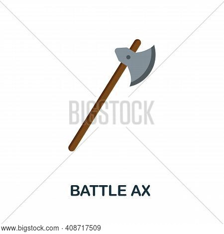 Battle Ax Flat Icon. Color Simple Element From Weapon Collection. Creative Battle Ax Icon For Web De
