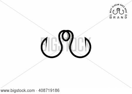 Fishhook Logo. Two Hooks Line Art Style, With The Concept Of Human Design On Negative Space. Creativ