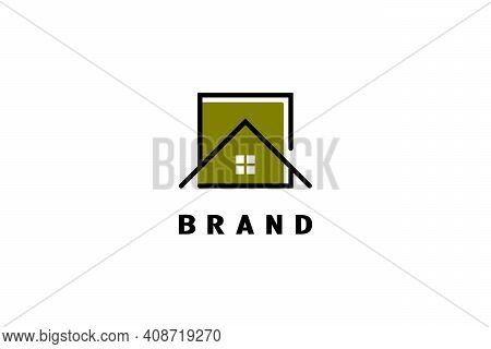 Square House Logo, Elegant And Minimalist, Modern Line Art Design Concept, Suitable For Construction