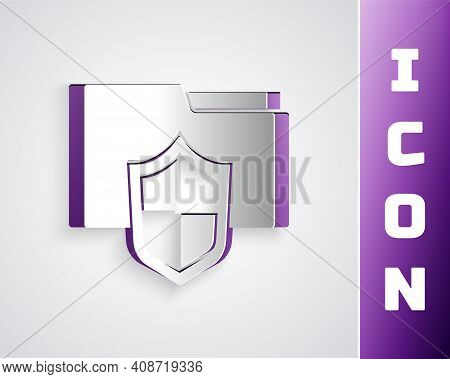 Paper Cut Document Folder Protection Concept Icon Isolated On Grey Background. Confidential Informat