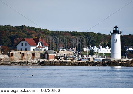 Portsmouth, Nh - Oct 3: View Of Portsmouth Harbor Lighthouse, From New Castle, New Hampshire, As See