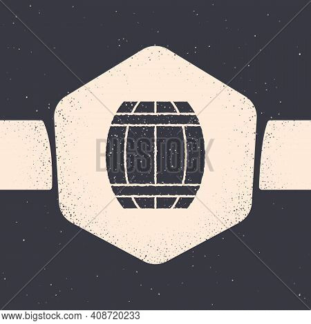 Grunge Gun Powder Barrel Icon Isolated On Grey Background. Tnt Dynamite Wooden Old Barrel. Monochrom