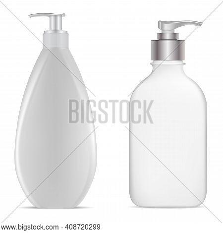 Pump Bottle. Vector Dispenser Bottle Mockup. White Plastic Hand Lotion Bottles, Pet Template. Gel Or