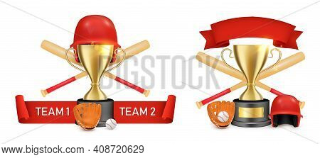 Baseball Sport Game Club, Championship, College League Label, Logo, Badge Set, Vector Isolated Illus