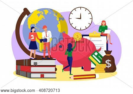 Tiny People Saving Money For Educational Expenses. Investing In Knowledge, Accumulation Of Money To