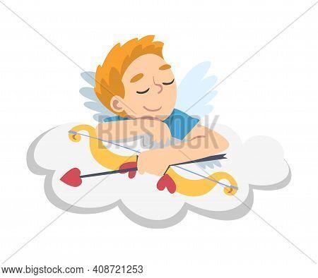 Cute Cupid Boy, Adorable Kid Angel Cherub With Bow Sleeping On Cloud Cartoon Style Vector Illustrati