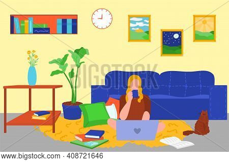 Young Woman Sitting On Floor With Laptop At Home. Girl Working Or Studying Online At Cosy Living Roo