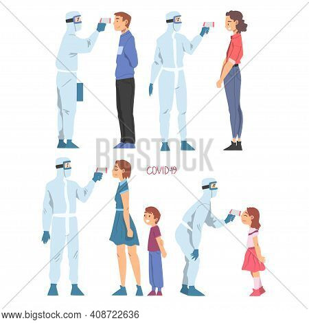 Doctors Measuring Temperature Of People With Temperature Scanner Set, Medical Staff In Protective Su