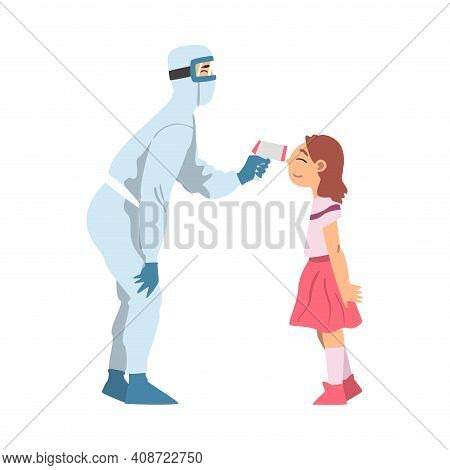 Doctor Measuring Temperature Of Little Girl Using Body Temperature Scanner, Medical Professional Che