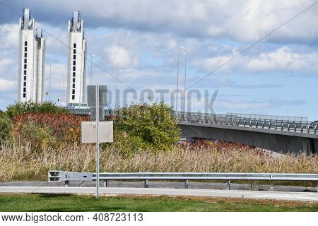Portsmouth, Nh - Oct 3: Sarah Mildred Long Bridge In Portsmouth, New Hampshire, As Seen On Oct 3, 20