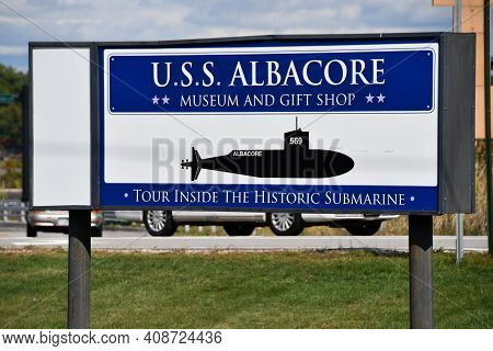 Portsmouth, Nh - Oct 3: Uss Albacore Submarine (agss-569) In Portsmouth, New Hampshire, As Seen On O