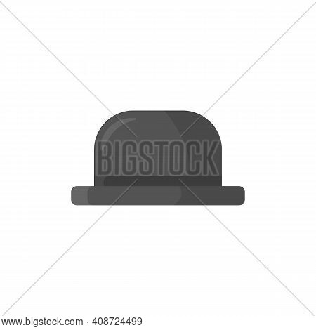 An Icon Of Men Bowler Hat In Flat Cartoon Style. Symbol Of Gentleman In Medieval England And Ireland